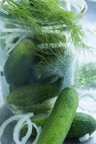 A jar of dill gherkins