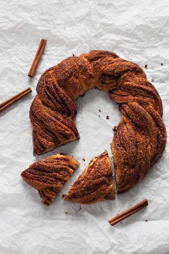 A cinnamon bread wreath (seen above)