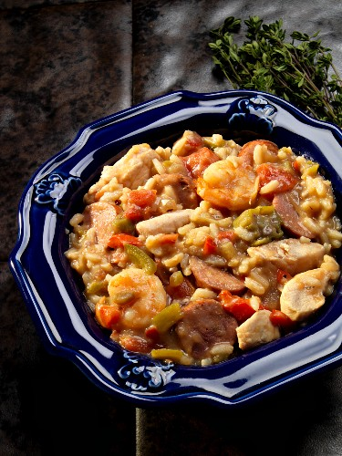 Jambalaya with sausage, chicken and prawns