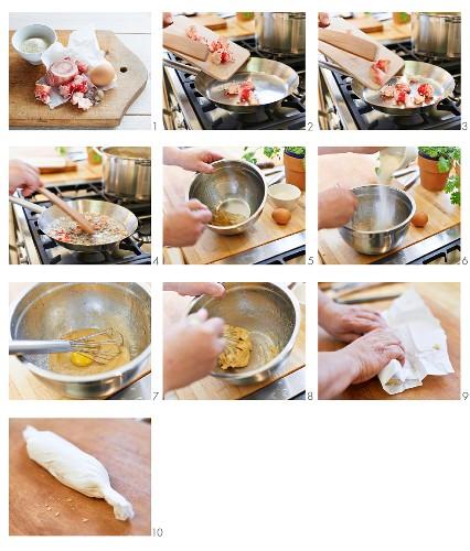 Bone marrow dumplings being made as a soup garnished