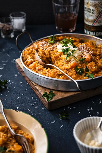 Pumpkin risotto with vermouth