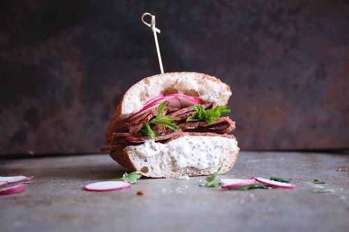 A pastrami and radish sandwich