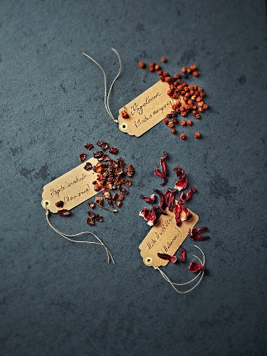 Rose hips, dried rowan berries and hibiscus flowers for tea