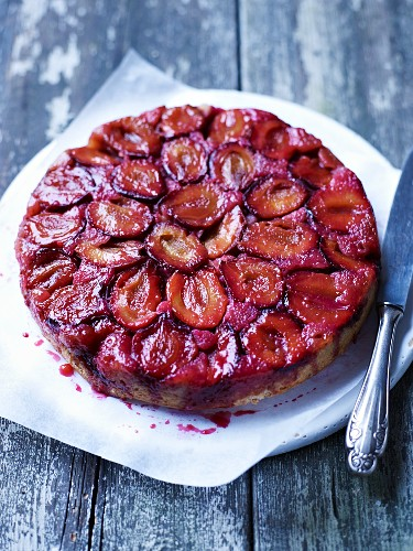 Upside down damson cake