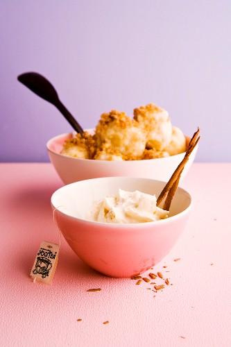 Yogi tea foam and cinnamon gremolata with damson dumplings