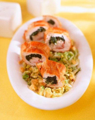 Stuffed spring chicken breast roulade