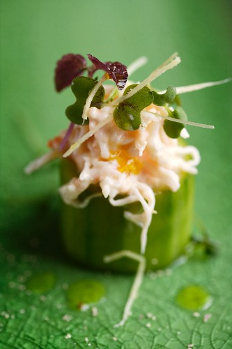 Fresh cucumber, filled with crab and ginger cream