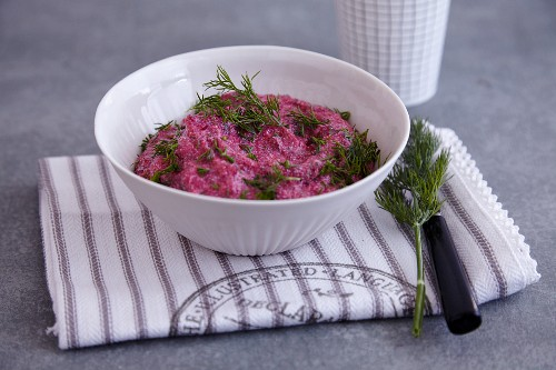 A beetroot dip with goat's cheese and dill