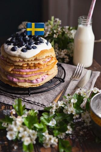 Swedish pancake cake with blueberries