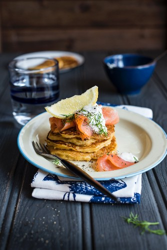 Pumpkin pancakes with smoked salmon and dill yoghurt