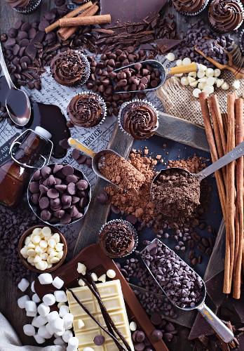 Schokoladenstilleben mit Cupcakes, Chocolatechips, Kakao, Sirup, Marshmallows und Zimtstangen