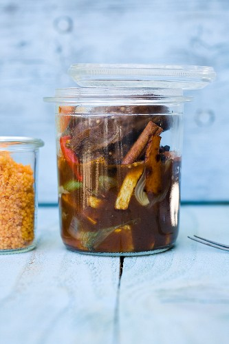 Veal cheeks braised in a jar with ras el hanout and carrot couscous