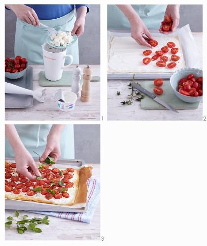 Schnelle Pizza mit Schafskäsecreme & Kirschtomaten zubereiten