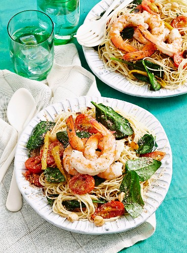 Olive oil poached prawns and pasta