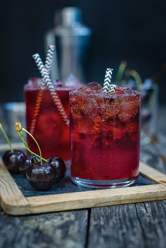 Bourbon, cherry and cola cocktails