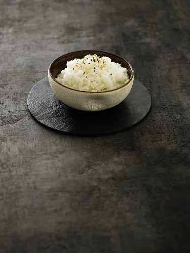Oriental rice topped with sesame seeds