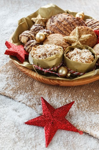 A Christmas platter with oat biscuits, oat muffins, scones and oat bites