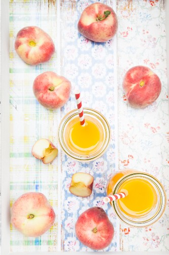 Homemade peach smoothie made from vineyard peaches (seen from above)