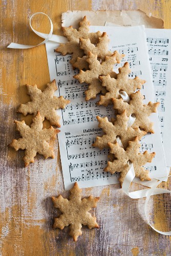 Gingerbread biscuits on sheet music