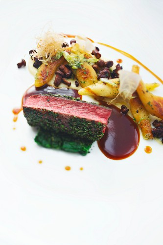 Saddle of young venison with chanterelle mushrooms and potato orzo pasta, Hotel Severin's Resort & Spa in Keitum, Sylt