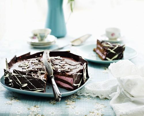 Chocolate raspberry cake, sliced