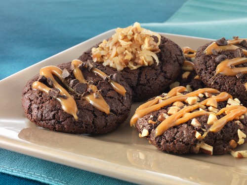 Chocolate biscuits with salted caramel