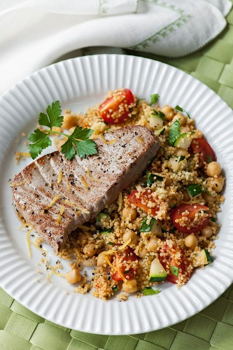 Tuna steaks with spicy chickpea couscous