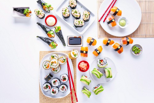 Prawn and Chive Sushi Boats, Chicken Schnitzel Hand Rolls, Egg Nori Rolls, Teriyaki Beef Rolls, Smoked Salmon Sushi, Avocado and Chicken Inside-out Rolls