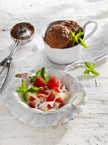 Strawberry quark and chocolate ice cream