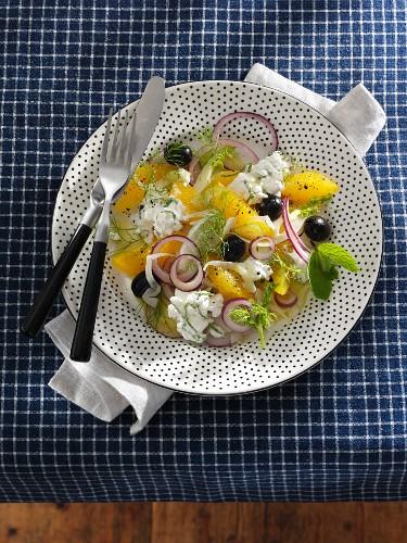 Fenchel-Orangensalat mit Zwiebeln, Oliven & Hüttenkäse