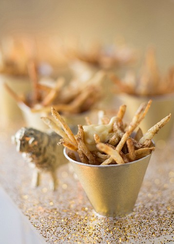 Chips with porcini mushroom salt and truffle mayonnaise