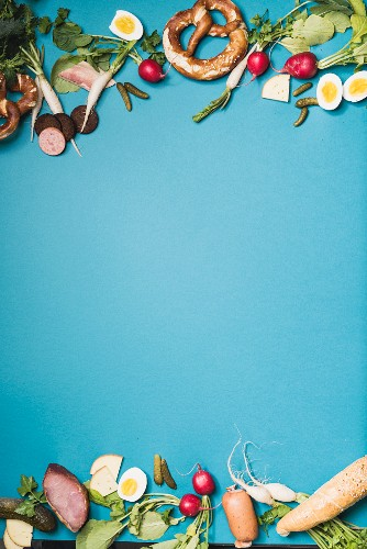 Supper ingredients on a blue surface