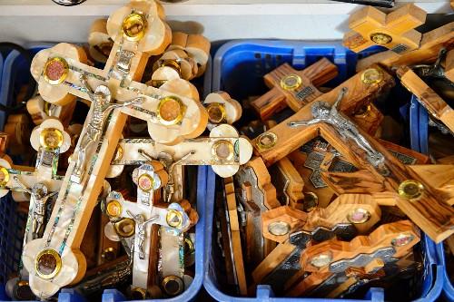 Souvenirs in the Christian quarter, crucifixes, Jerusalem, Israel