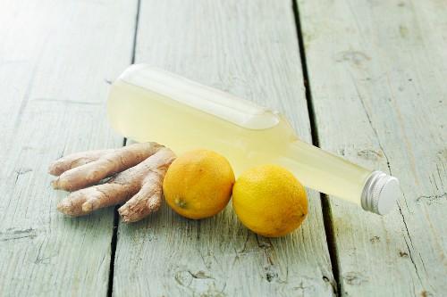 Homemade lemon and ginger syrup