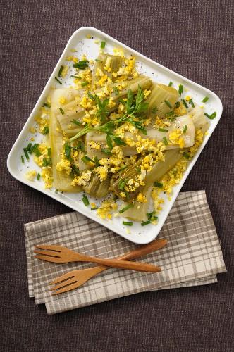 Leek salad with an egg vinaigrette