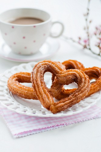 Heart-shaped churros for Valentine's day