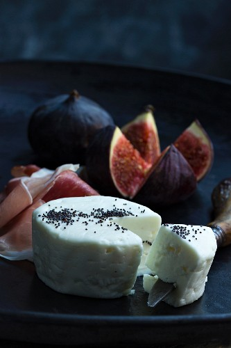 Goat's cheese, Parma ham and fresh figs as an appetiser