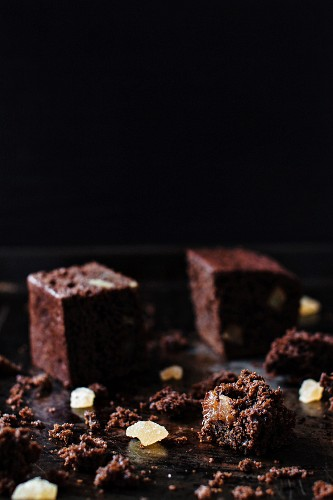 Rich gingerbread cake with candied ginger