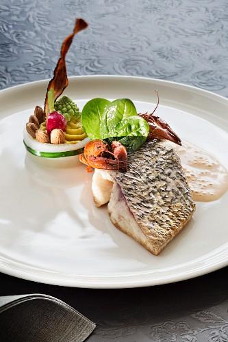 Take Philip with vegetables at the Restaurant des Quais, Yverdon-les-Bains on Lake Neuchâtel, Switzerland