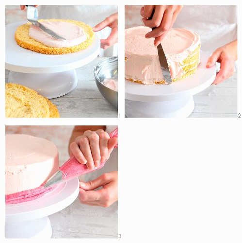 Strawberry mousse cake with a striped edge being made