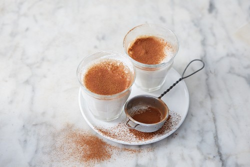Almond drink with dates and cinnamon