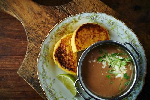 Arepas (cornbread) and gazpacho from Latin America
