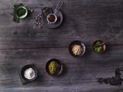 Exotic superfoods: seaweed, baobab, maca, matcha, black sesame seeds, moringa and cocoa