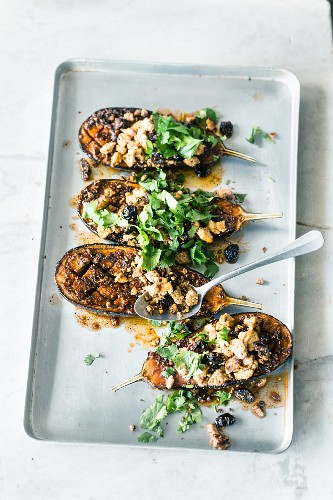 Tofu aubergines with dried cherries and chermoula