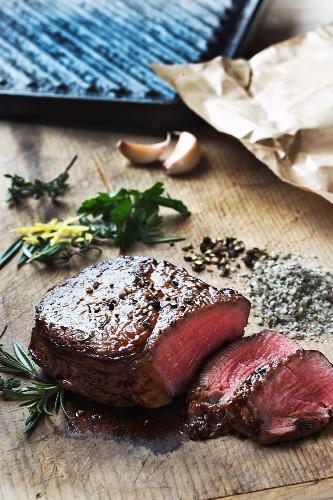 Grilled peppered steak, sliced