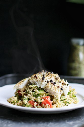 Vegetable couscous with spicy peppered fish