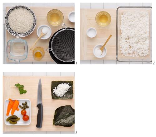 Vegetarian sushi cones being made