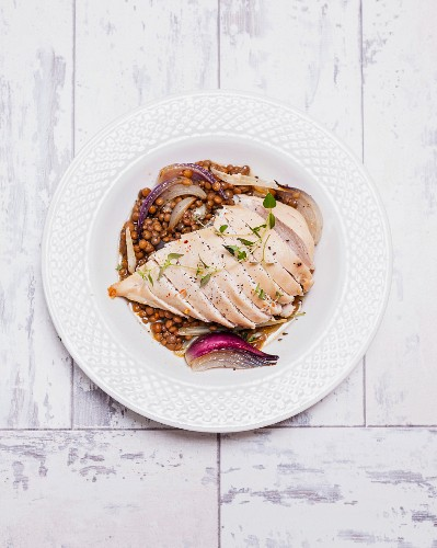 Chicken breast with a lentil medley and chilli