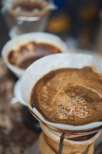 Filter coffee being brewed, roasting house and cafe 'Elbgold' in Hamburg
