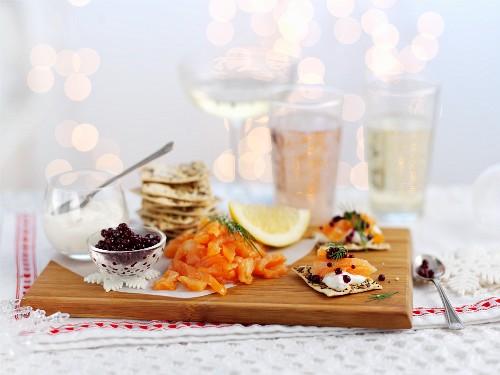 Smoked salmon and caviar canapés for Christmas